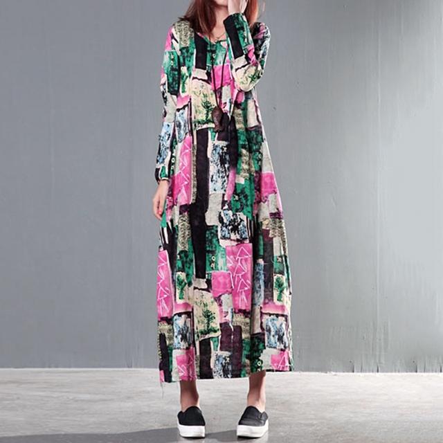 Top Venda Mulher Grávida Vestido Floral Comprimento Total Vestidos de Maternidade Roupas Soltas Outono Vestido de Linho de Algodão Ásia Tamanho M-2XL
