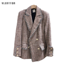 2019 Spring Tweed Plaid Women's Jacket Blazer Vintage Double Breasted Tassel Long Sleeve Office Blazers Jackets Female Outwear