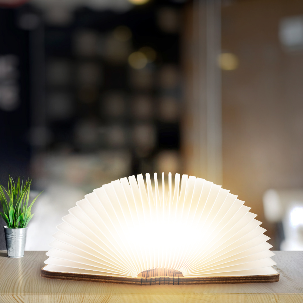 USB Rechargeable Warm White LED Wooden Folding Mini Book Shape Light Desk Night Lamp For Living Room Christmas Decor