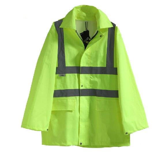ФОТО Reflective raincoat waterproof Jacket Detachable cap long sleeve safety clothing V82919