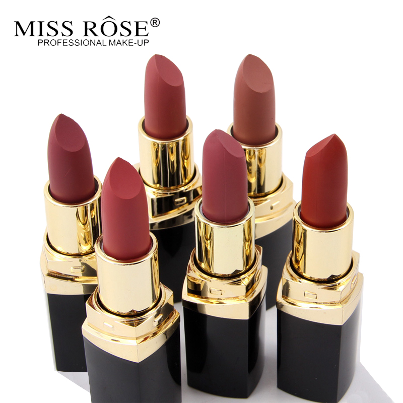 Miss Rose Brand 24color Nude Matte Lipstick Batom Waterproof Matte Velvet Lip stick Red Lips Cosmetic Makeup Sexy Lipstick Kits image