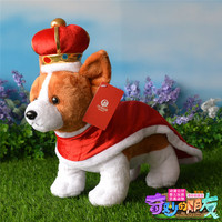 new plush Welsh Corgi dog toy high quality red Imperial crown brown standing dog doll about 32cm
