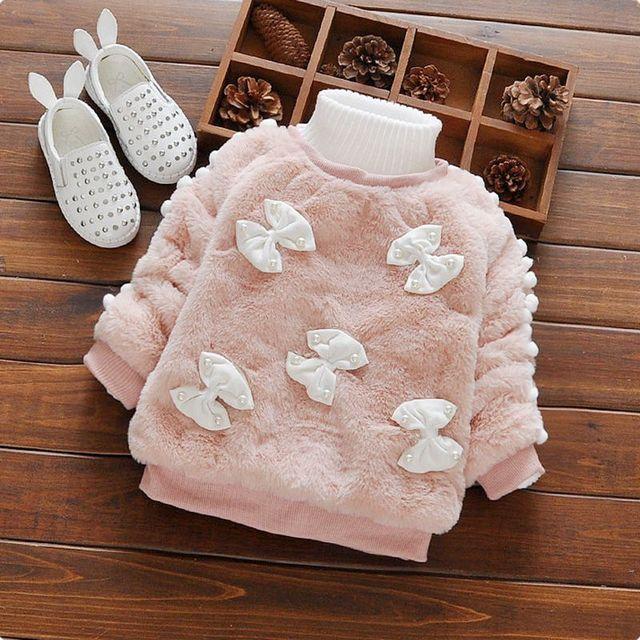 Ropa para niños 2016 nuevo otoño invierno sudaderas con capucha del bebé baby girl caliente de corte arco diseño espesar niño bebé clothing