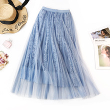 Floral Embroidery A-line Tutu Lace Mesh Skirt Women Elegant Tulle Long Pleated Midi Summer Hot Sale