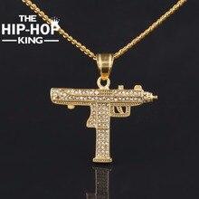 Hip Hop Gun Pendant Necklace For Men Women Gold Color Ice Out Cz Diamonds CSGO Charm Pendant Fine Quality Gold Cuban Chain