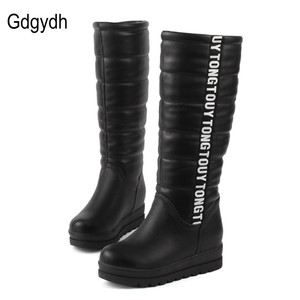 Image 2 - Gdgydh Winter Women Shoes Knee high Boots Female Elevator Flat Thermal Velvet Snow Boots Platform Cotton padded Shoes Size 34 43