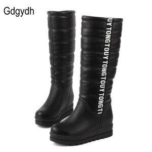 Image 2 - Gdgydhผู้หญิงฤดูหนาวรองเท้าเข่าสูงรองเท้าบูทลิฟท์หญิงแบนความร้อนกำมะหยี่แพลตฟอร์มSnow Bootsรองเท้าผ้าฝ้ายขนาด 34 43