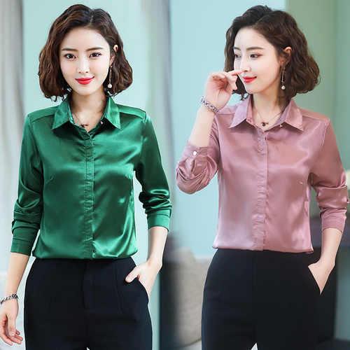 af857bc09d4fdb ... TingYiLi Green Pink Satin Blouse Spring Summer Women Blouse Shirts  Korean Elegant Office Ladies Long Sleeve