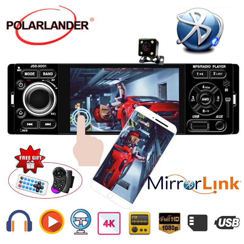 Car Radio 4 1 Din Microphone Rear view camera USB AUX Car MP5 Player Touch Screen Stereo auto audio Mirror Link for Andriod image