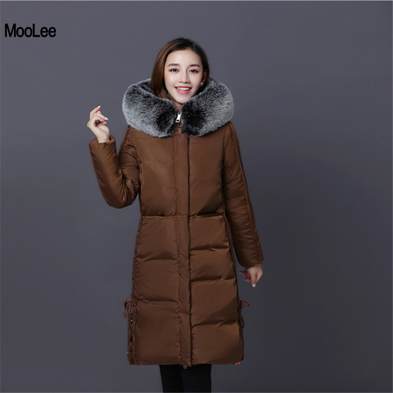 New Women Winter Coat 2017 Fur Collar Hooded Thickening Super Warm Medium Long Parkas Long Sleeve Loose Big Yards Jacket Outwear 2017 new winter fashion women down jacket hooded thick super warm medium long female coat long sleeve slim big yards parkas nz18