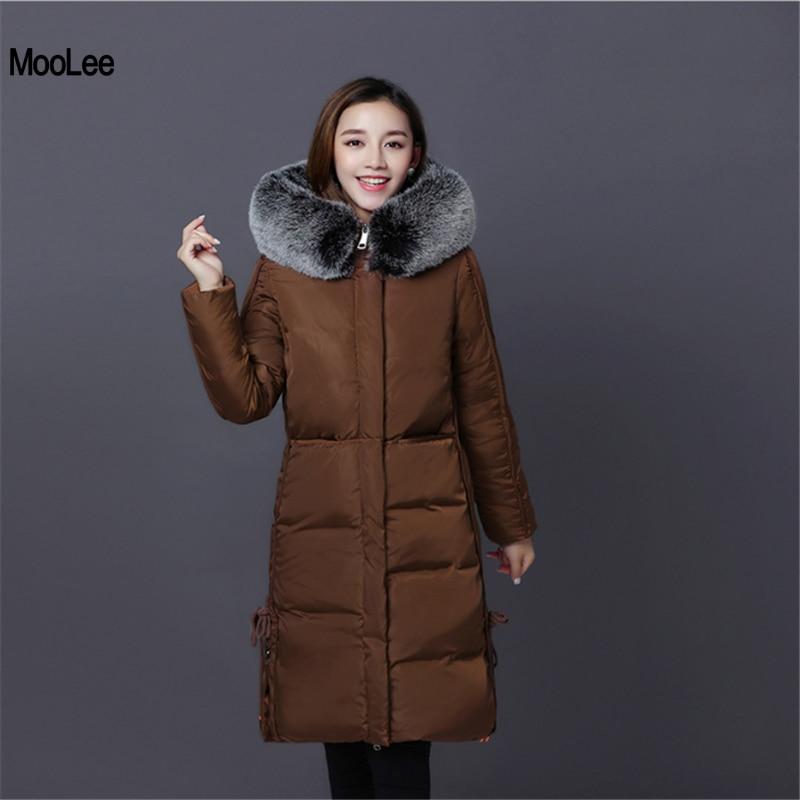 New Women Winter Coat 2017 Fur Collar Hooded Thickening Super Warm Medium Long Parkas Long Sleeve Loose Big Yards Jacket Outwear цены онлайн