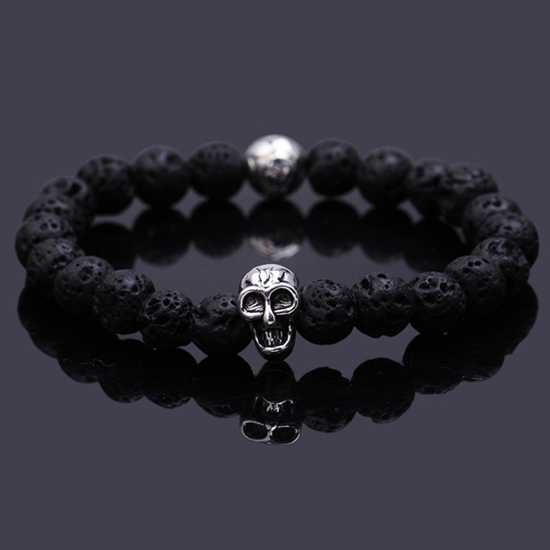 Lover Gift Skull Bracelet Pulseras Mujer Buddha Hombre Bracelets Lava Stone For Men And Women Jewelry In Charm From