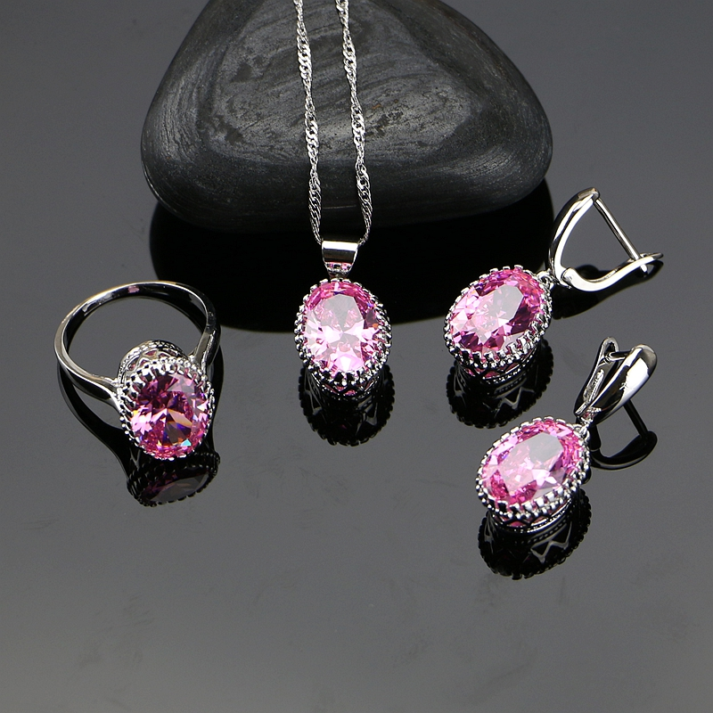 Oval Pink Crystal White Zircon Created Sterling Silver 925 s
