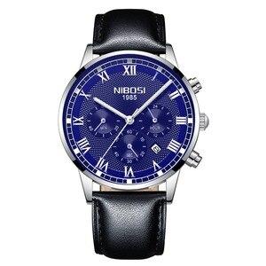 Image 3 - NIBOSI 2019 Neue Quarz Männer Uhr Leder Chronograph Army Military Sport Uhren Uhr Männer Relogio Masculino Männlichen Reloj Hombre