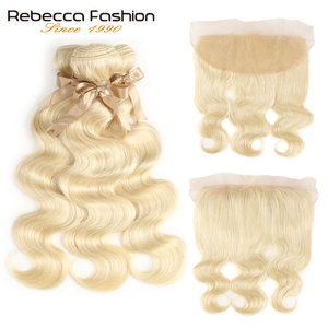 Image 2 - Rebecca 613 Blonde Bundles With Frontal Peruvian Body Wave 3 Bundles Remy Blonde Human Hair Lace Frontal Closure With Bundle
