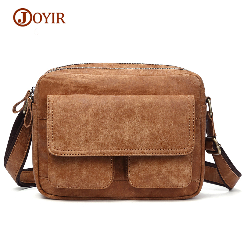 JOYIR Genuine Leather Men's Bags Male Vintage Flap Cowhide Men Shoulder Bag Crossbody Cow Leather Small Messenger Bag for Men mva genuine leather men s messenger bag men bag leather male flap small zipper casual shoulder crossbody bags for men bolsas