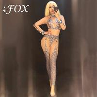 Women Jazz Costume Rhinestone Bodysuit Pole Dance Performance Clothing Nightclub DJ Gogo Stage Wear Beyonce Jumpsuit DNV10536