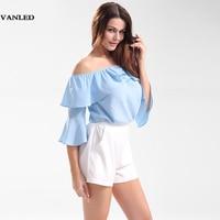 VANLED Loose Fashion Flare Sleeve Ruffle Shirt Women Three Quarter Sleeve Off The Shoulder Women Chiffon