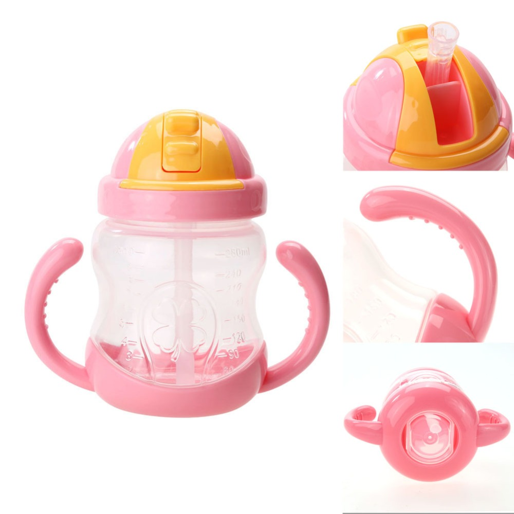 4-280ml Cute Baby Cup Kids Children Learn Feeding Drinking Water Straw Handle Bottle mamadeira Sippy Training Cup Baby Feeding Cup