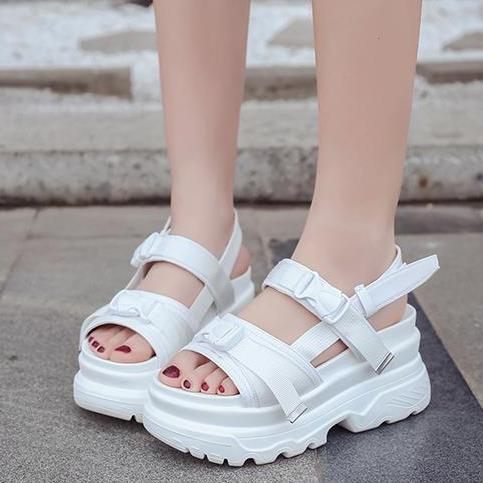 Damas Para La Plataforma Grueso Cuñas Caminar Zapatos Zapatillas 2019 Sandalias Mujeres Negro Moda blanco Sandalia Chinelo Verano Las Fondo De 4ggqtw67