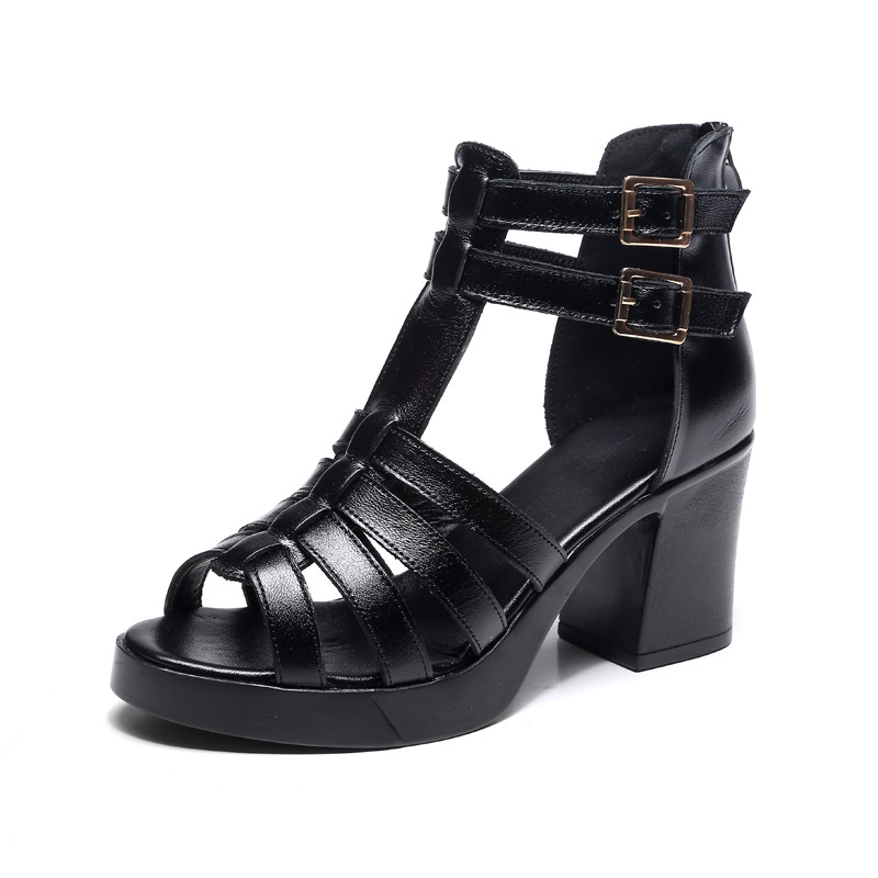 Fish mouth shoes thick with leather women's sandals 2019 summer hollow boots high heel women's casual fashion breathable