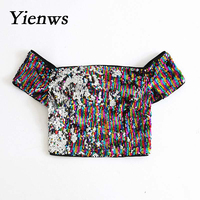 Sexy Colorful Camis Crop Top Sequins Vest Tanks Tube Cropped Tank Top Flashing T Shirt Short