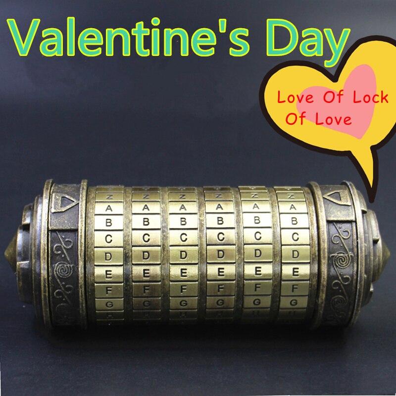 Le Davinci Code Cryptex saint valentin Confession petite amie copain cadeau d'anniversaire serrure + 2 anneaux emballage cadeau