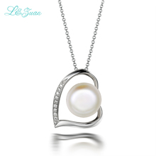 l&zuan 925 sterling silver natural cultured freshwater pearl heart pendant necklace jewelry with silver chain for Christmas gift