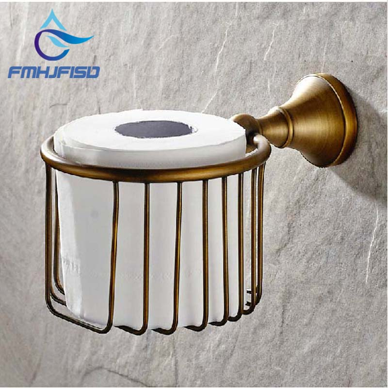 Free Shipping Wholesale And Retail NEW Antique Brass Bathroom Wall Mounted Toilet Paper Holder Tissue Basket Holder free shipping wholesale and retail wall mounted bathroom toilet paper holder antique brass roll tissue box