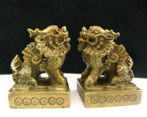 Ev ve Bahçe'ten Statü ve Heykelleri'de Çift Pirinç heykeli Pi xiu Pi Yao Feng Shui Artırıcı feng shui M5019 title=