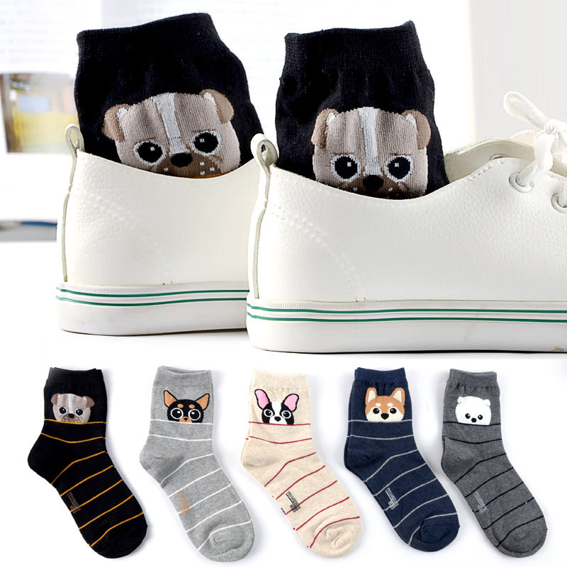 New Fashion Women Cute Socks Fine Stripes Fun Bulldog Husky Pug Socks Korea Kawaii Female Winter Cartoon Animal Dog Socks Warm