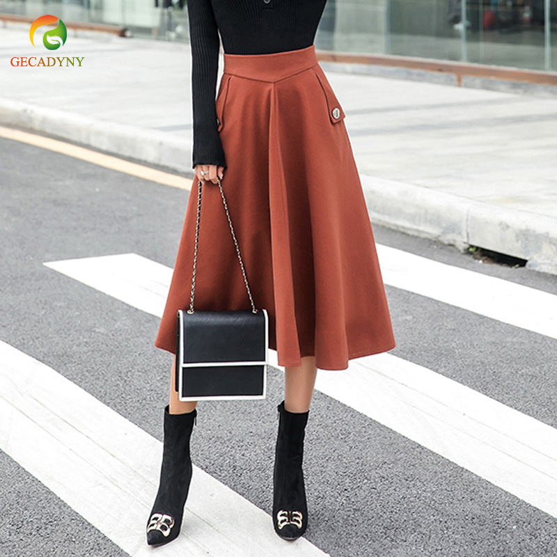 0f8879e77 Autumn Winter Women Woolen A Line Solid Skirt High Waist Wool Skirt Thick  Warm Mid Calf Mujer Pleated Umbrella Skirts Femme-in Skirts from Women's  Clothing ...