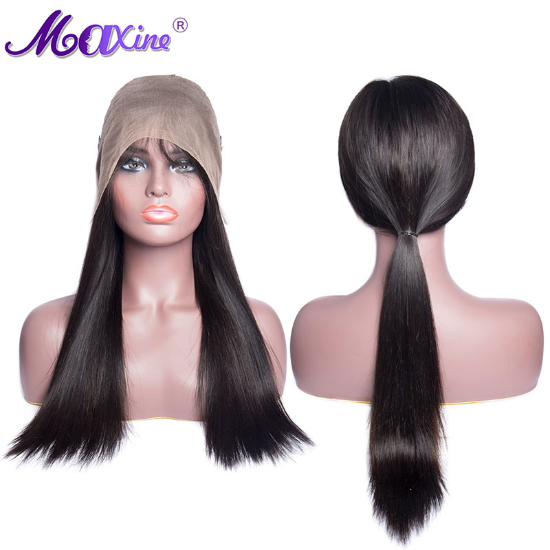 Maxine Hair Brazilian Straight Wig 360 Lace Frontal Wig Pre Plucked With Baby Hair 130 Density