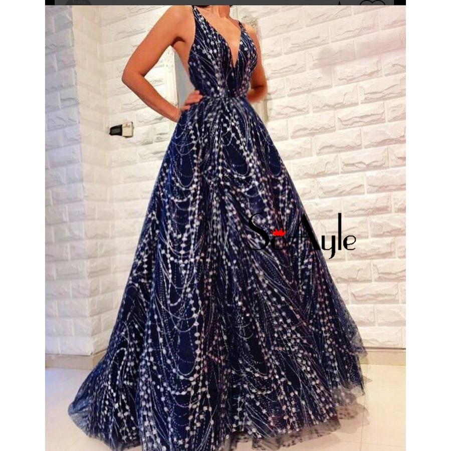 A Line V Neck Vestidos de festa Plus Size Prom Dresses Navy Glitter ...