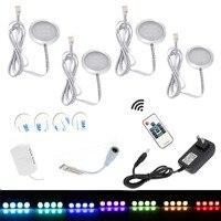 4pcs Set RGB Cabinet Lamp Round Super Bright Epistar Chip SMD5050 Led Under Cabinet Light Set
