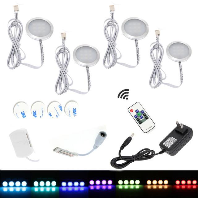 Sob a Luz LED Gabinete Downlight Holofotes Kit com Controle Remoto RF RGB Regulável para Casa Balcão Da Cozinha Do Armário de Iluminação