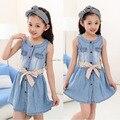 2016 new Girl summer casual cute denim blue beautiful dress children's clothing kids princess cotton denim vest dress