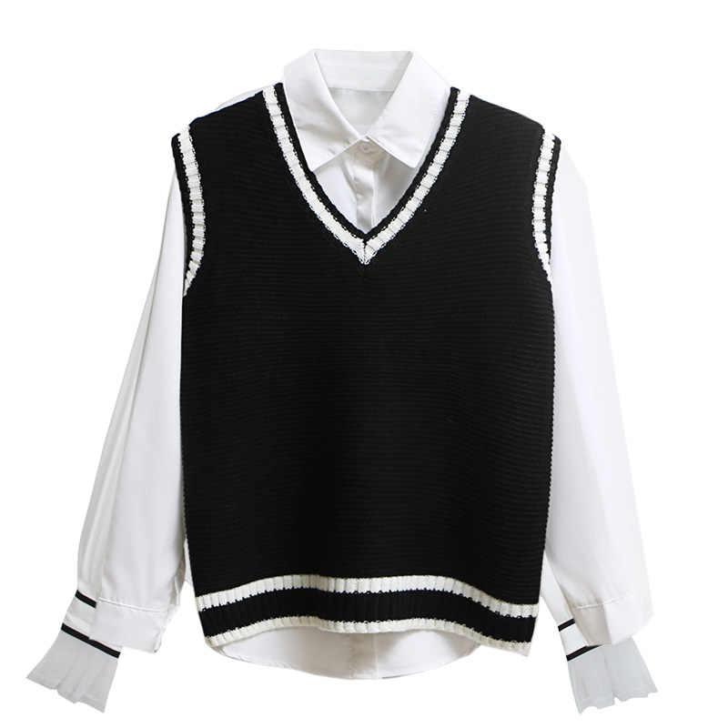 カジュアル新ファッション女性秋春セーター 2018 V ネックノースリーブ無地ベストセータールーズプルオーバーは kz059