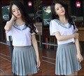 Japan South Korea School Uniform Short Sleeve Tops and Pleated Skirt British Navy Style Sailor Uniform Student Uniform