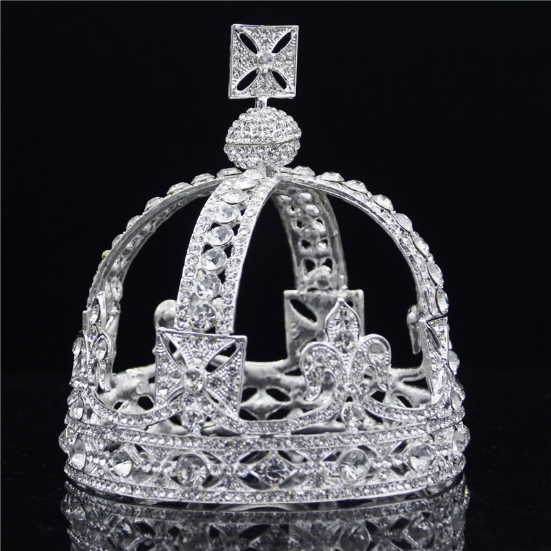 Baroque Royal Queen Tiara Crown Rhinestone Vintage King Diadem Bridal Wedding Tiaras and Crowns for Male Headdress Hair jewelry