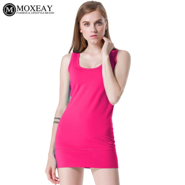 1526e6608a229 Moxeay Basic Tank Top Womens Girls Ladies Casual Top Hip Long U-Neck Stretch  Soft Cotton Sleeveless Summer Tops Vest Pure Color