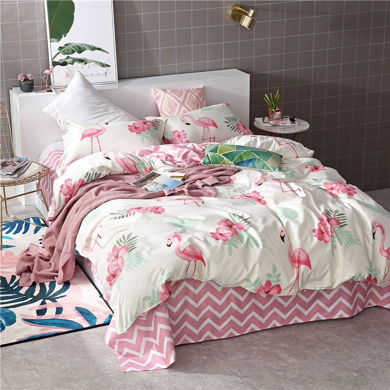 Flamingo Geometric 4pcs Bed Cover Set Cartoon Duvet Cover Children's Bed Sheets And Pillowcases Comforter Bedding Set 2TJ-61002