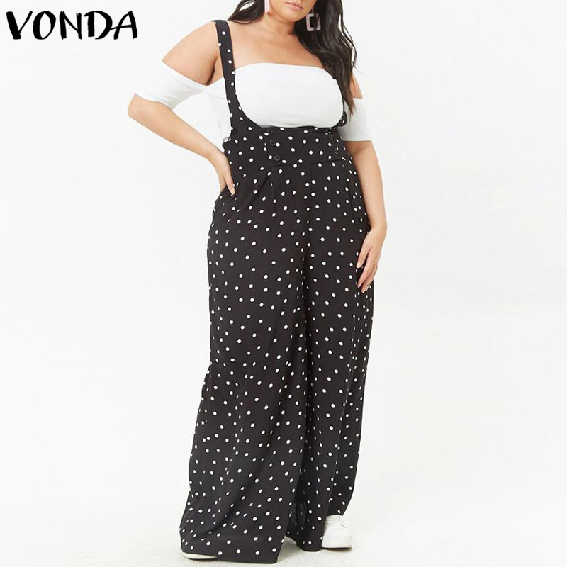 2018 Summer Dot Print Rompers Womens Jumpsuits Sexy Vintage Bodysuit Casual Loose Trousers VONDA Playsuits Plus Size Overalls
