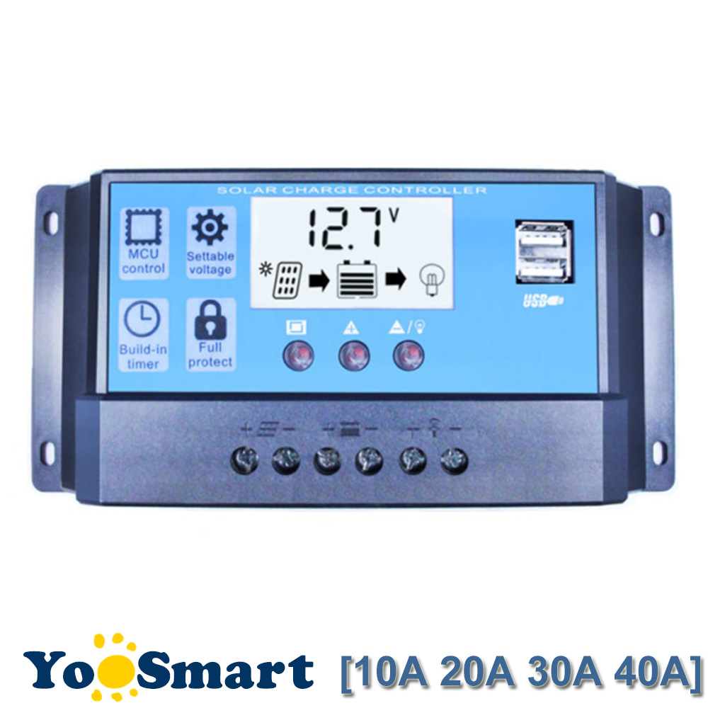 Lighting Accessories Charge Controller 12v 24v 30a 50a 70a Mppt Connector Charge Solar Panel Battery Regulator Dual Usb Lcd Display Terminals