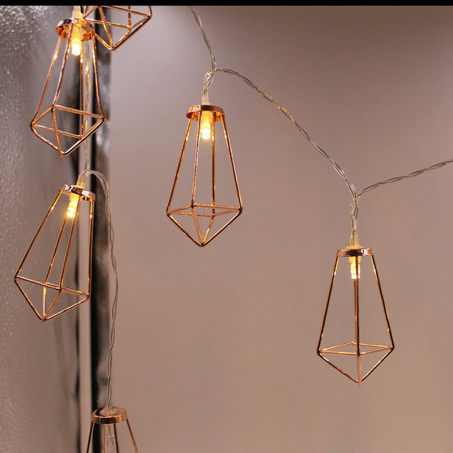 Rose Gold Lantern Wedding Led Fairy Lights Modern Decor Metal Rustic Decoration Centrepiece