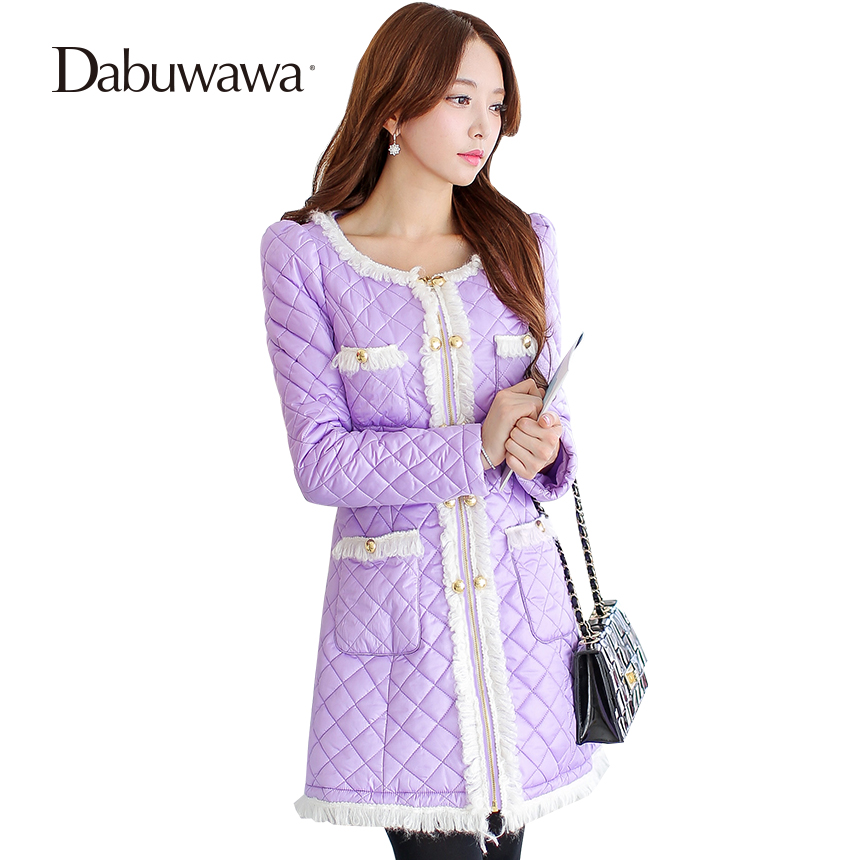 Dabuwawa Purple Warm Cotton Coat Women Winter Long Winter Coat Women A Line Padded Coat Outwear Parka Feminina lady gaga