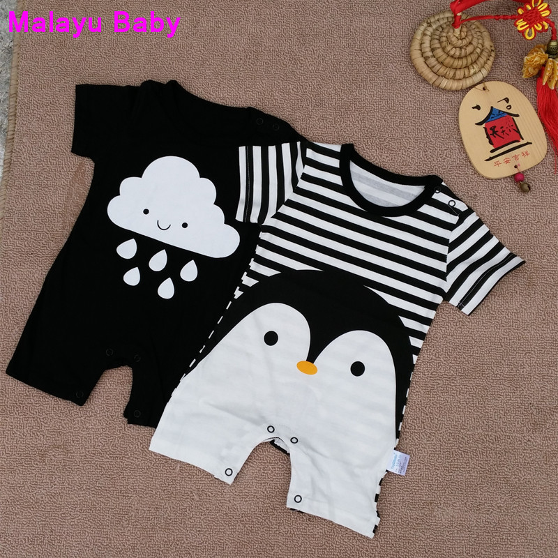 Malayu Baby New 2018Cute Baby Boy Romper Short Sleeve Cotton Jumpsuit Baby Cartoon Printed Rompers Newborn Baby Boy Girl Clothes