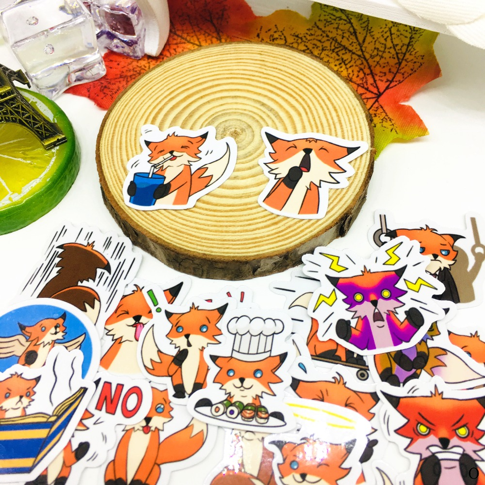 40 PCS Cute Loving Fox Sticker Anime Icon Stickers Gifts For Children To Laptop Suitcase Guitar Fridge Bicycle Car Toy