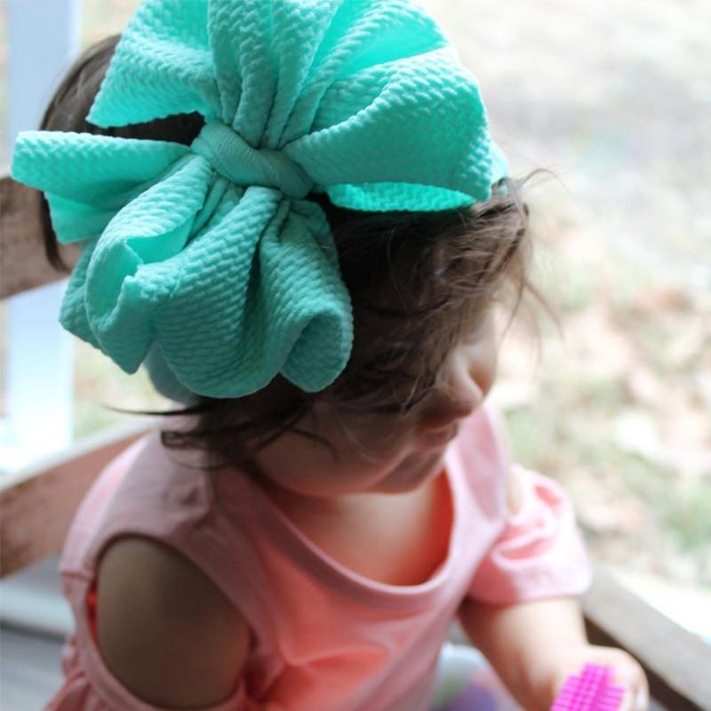 One Size Baby Girl Fabric Messy Bow Headband Nylon Headband Newborn Large Bow Headwrap Infant Bebes Hair Bows Turban Bowknot Tie