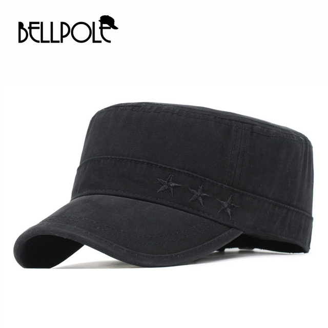BELLPOLE Black Gray Military Hats Star Flat Top Hat Army Outdoor Solid Cap  for Men Women Gorra Militar Casquette High Quality cde5d66afbc